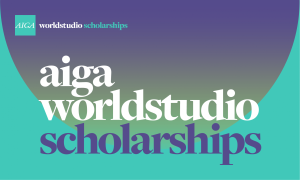 The words AIGA Worldstudio Scholarships layered over purple half circle on aqua background