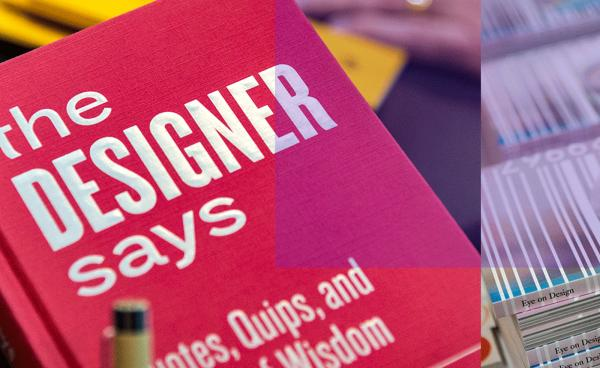 "Photo of ""The Designer Says"" Book and Eye on Design Magazine"