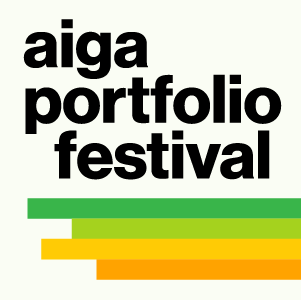 AIGA Portfolio Festival in black lowercae type on white background above green, lime, yellow, and organge stripes