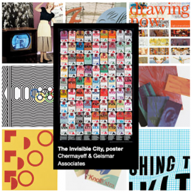 AIGA Design Archives collection grid featuring The Invisible City, poster by Chermayeff & Geismar, rows of travel tags