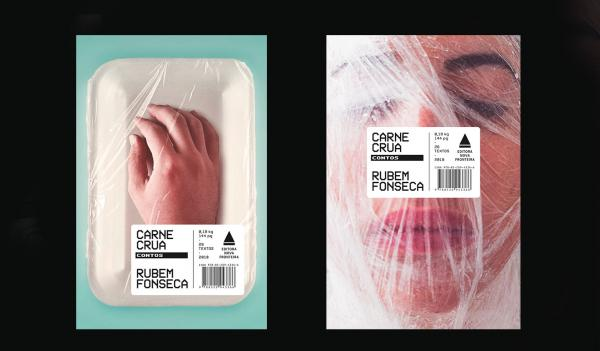 The front cover and back cover of a book with a hand anda face in a meat package with a bar code across it.