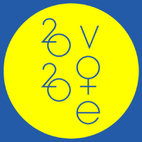 AIGA Get Out the Vote 2020 Vote in royal blue type contained in a lemon yellow circle